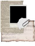 Cluttered Collage. The start of a collage with  polaroids, sheet music, and vintage papers Stock Photography