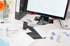 Cluttered desk Royalty Free Stock Image