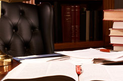 Cluttered office desk Stock Photo