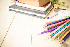 Cluttered office desk background Royalty Free Stock Image