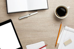 Cluttered office desk Royalty Free Stock Image