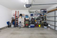 Cluttered but Organized Suburban Garage royalty free stock image