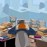 Cluttered. Table littered with papers and documents. The man in the chair clutching his head in despair. Vector illustration Stock Photography