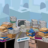 Cluttered. Vacant position in mess. Job vacancy. Job offer. Cluttered. Table, littered with papers and documents, next to the empty chair. Vector illustration Stock Photo
