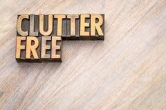 Clutterfree -在葡萄酒木头类型的词摘要 免版税库存照片