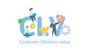 CLV, valeur de vie de client Concept avec des mots-clés, des lettres et des icônes Illustration plate de vecteur sur le fond blan illustration libre de droits