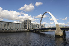 Clyde Arc bridge over River Clyde Stock Photos