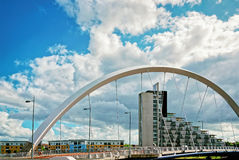 Clyde Arc over Clyde River in Glasgow. Glasgow is the city in the Lowlands in Scotland in the United Kingdom Royalty Free Stock Photos
