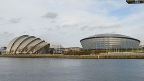 Clyde Auditorium, Hydro Arena and Finnieston crane, Glasgow stock video