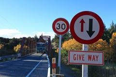 Clyde Bridge op de Clutha-Rivier, Zuideneiland Nieuw Zeeland Stock Afbeelding