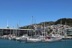 Clyde Quay Wharf com os iate no porto Wellington Imagem de Stock