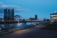 The Clyde River embankment in the center of Glasgow stock images