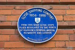 Clyde Shipping Company Plaque in Waterford stock foto's