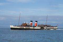 Clyde steamer. An ocean-going paddle steamer on the Firth of Clyde royalty free stock photos