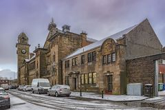Clydebank Former Police Station. A view of the town hall and former police station in Clydebank, Scotland Stock Image