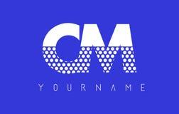 Cm C M Dotted Letter Logo Design con el fondo azul Fotografía de archivo
