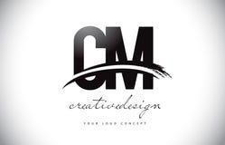 Cm C M Letter Logo Design avec le bruissement et course noire de brosse Images libres de droits