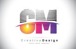 Cm C M Letter Logo Design With Creative Lines et Swosh dans Purpl Image stock