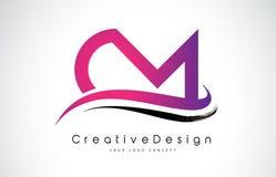 Cm C M Letter Logo Design Vecteur moderne L de lettres d'icône créative Image stock