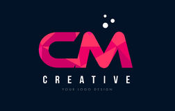 CM C M Letter Logo with Purple Low Poly Pink Triangles Concept. CM C M Purple Letter Logo Design with Low Poly Pink Triangles Concept stock illustration