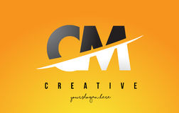 Cm C M Letter Modern Logo Design avec le fond jaune et le Swoo illustration libre de droits