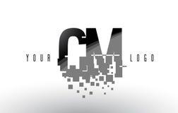 Cm C M Pixel Letter Logo avec les places noires brisées par Digital Photo libre de droits
