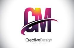 Cm C M Purple Letter Logo avec la conception de bruissement Magenta créatif M Photos stock