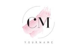 Cm C M Watercolor Letter Logo Design con el modelo circular del cepillo Foto de archivo