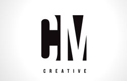 Cm C M White Letter Logo Design avec la place noire Photo libre de droits