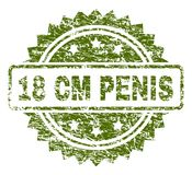 Scratched Textured 18 CM PENIS Stamp Seal. 18 CM PENIS stamp seal watermark with rubber print style. Green  rubber print of 18 CM PENIS label with grunge texture Royalty Free Stock Photography