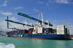 CMA CGM Jamajka statek w Miami Obrazy Stock