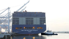CMA CMG BENJAMIN FRANKLIN preparing for departure from the Port Royalty Free Stock Photos