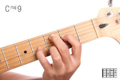 Cmaj9 guitar chord tutorial Royalty Free Stock Photography