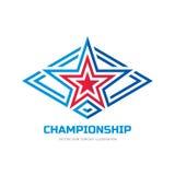 Cmapionship - vector logo template concept illustration. Star sign in rhombus shape. Abstract symbol. Design element.  stock illustration
