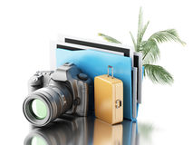 cámara de la foto 3d con la carpeta, la palmera y la maleta Imagen de archivo