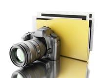 cámara de la foto 3d con la carpeta Álbum de foto Fotografía de archivo libre de regalías
