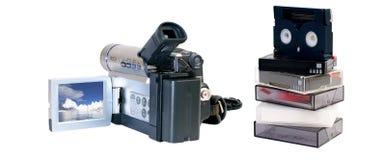 Cámara de vídeo y cintas Fotografía de archivo