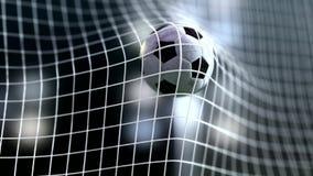 Cámara lenta del balón de fútbol a la meta Representación del balompié 3d Imágenes de archivo libres de regalías