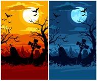cmentarniany Halloween księżyc noc zmierzch okropny ilustracji