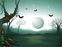 Cmentarz i księżyc ilustracji