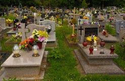 Cmentarz Mogilski Cemetery. Nowa Huta, Poland - July 9th 2018. The historic Cmentarz Mogilski Cemetery in Nowa Huta, Krakow stock images