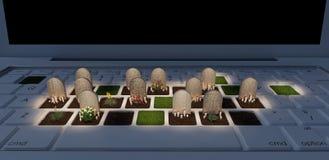 Cmentarz na laptopie, zależność na cyfrowym światowym pojęciu, 3d odpłaca się ilustracja wektor