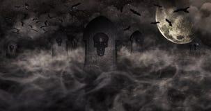 Cmentarz Przy nocą Z nagrobkami Z czaszkami Ful I Chmurnym niebem royalty ilustracja