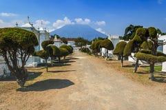 Cmentarz & wulkan, Antigua, Gwatemala Zdjęcie Stock
