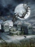 Cmentarz z starym drzewem ilustracja wektor