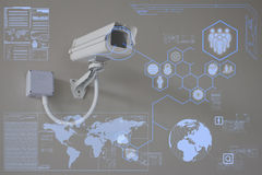 Câmera do CCTV ou tecnologia da fiscalização na visualização ótica Imagem de Stock