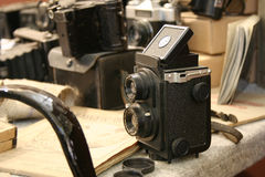 Câmera velha de TLR Fotografia de Stock