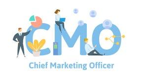 CMO, director de marketing, fondo del concepto del negocio de las siglas Concepto con palabras claves, letras, e iconos plano libre illustration
