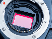 Cmos sensor or also called digital ccd installed on mirorless ca Royalty Free Stock Image
