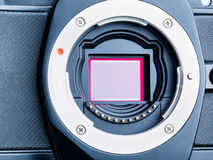Cmos sensor or also called digital ccd installed on mirorless ca Royalty Free Stock Photo